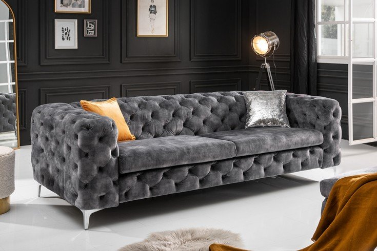 Chesterfield 3er Sofa MODERN BAROCK 235cm dunkelgrau Samt 3-Sitzer