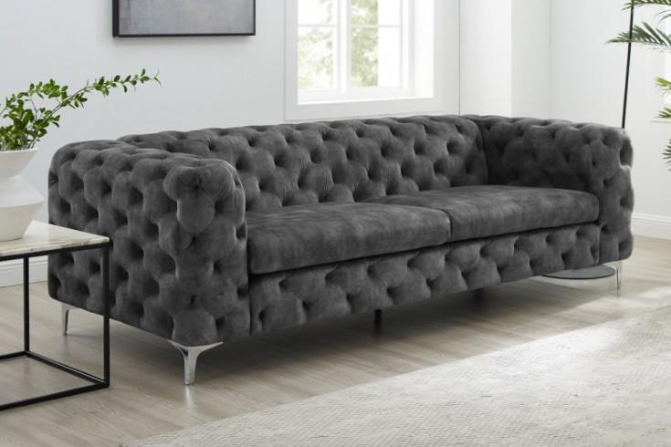 Chesterfield 3er Sofa MODERN BAROCK 240cm dunkelgrau Samt 3-Sitzer