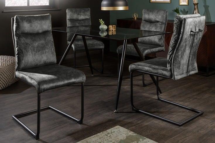 Moderner Freischwinger Stuhl COMFORT grün Samt mit Komfortgriff