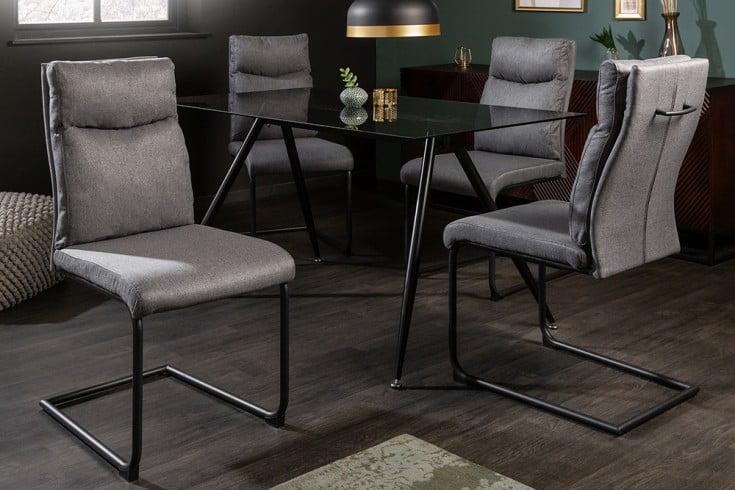 Moderner Freischwinger Stuhl COMFORT grau mit Komfortgriff