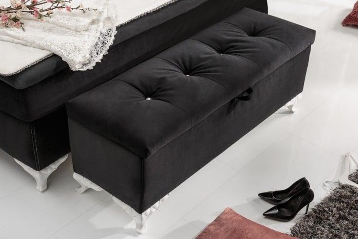 Elegante Bettbank VERSAILLES 126cm schwarz Samt Barock Design