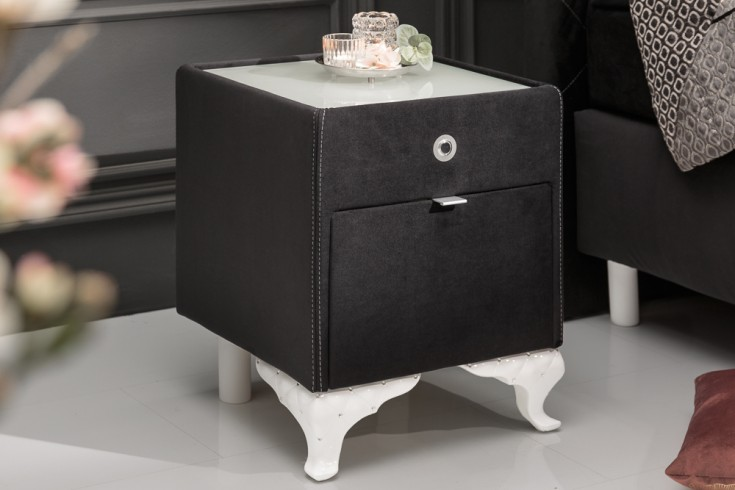 Eleganter Nachttisch VERSAILLES 43cm schwarz Samt mit Schublade indirekte Beleuchtung