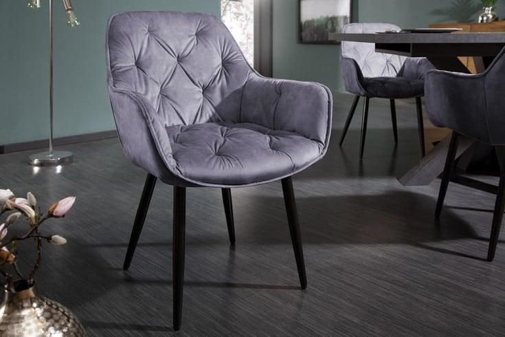 Design Stuhl MILANO grau Samt mit Chesterfield Steppung