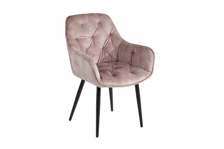 Design Stuhl MILANO champagner Samt mit Chesterfield Steppung
