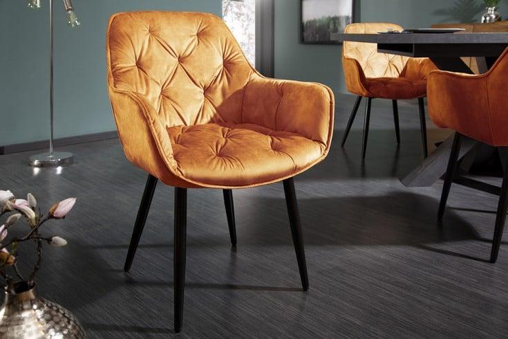 Design Stuhl MILANO senfgelb Samt mit Chesterfield Steppung