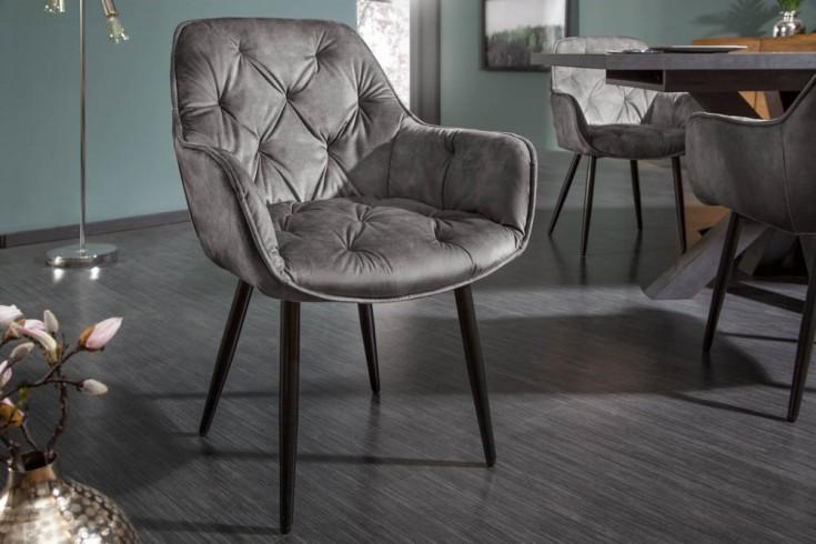 Design Stuhl MILANO grün Samt mit Chesterfield Steppung