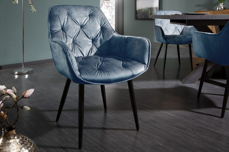 Design Stuhl MILANO petrol Samt mit Chesterfield Steppung