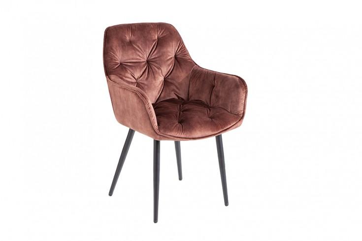 Design Stuhl MILANO braun Samt mit Chesterfield Steppung