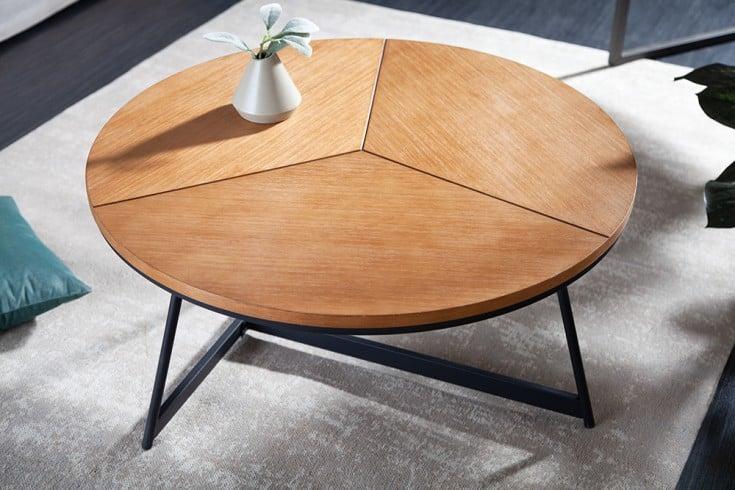 Design Couchtisch OAK ELEGANCE 80cm Eiche schwarzes Metallgestell