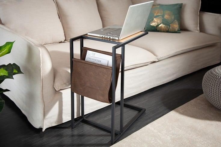 Industrial Laptoptisch LOFT 48cm Eichenoptik Beistelltisch mit Ablagefläche