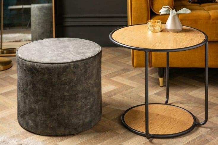 Design Couchtisch STUDIO 55cm Eichenoptik mit Sitzhocker aus Samt