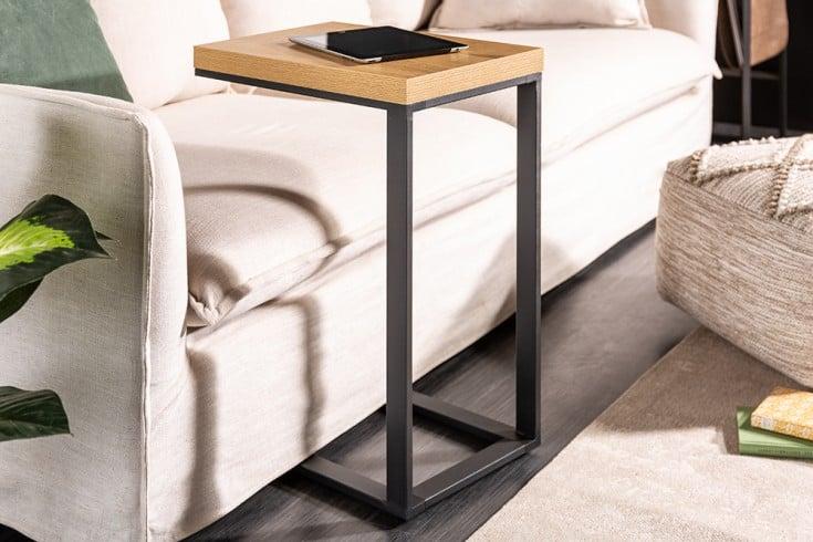 Design Laptoptisch LOFT 45cm Eichenoptik Beistelltisch schwarzes Gestell
