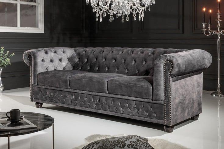 Chesterfield 3er Sofa 205cm grau Samt mit Knopfheftung und Federkern