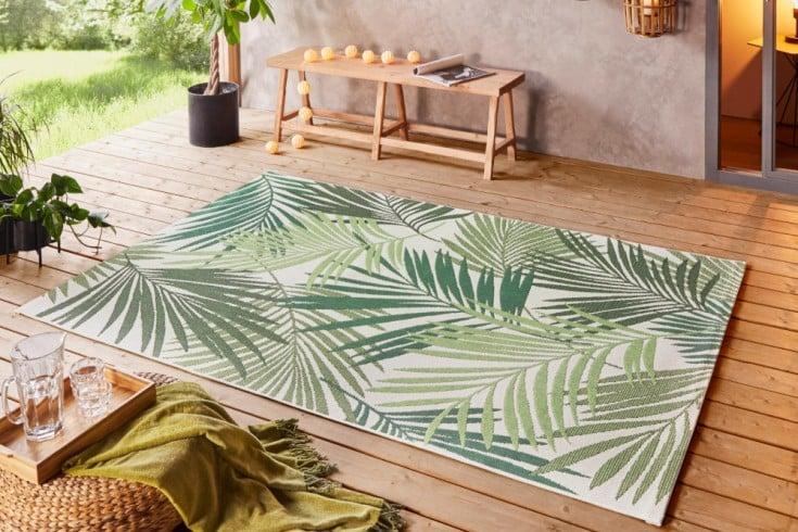 Outdoor / Indoor Teppich LEAF 230x160cm grün beige Palmenblätter