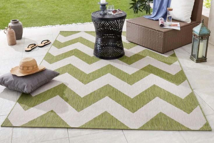 Outdoor Teppich RIO 230x160cm grün beige geometrisches Muster wetterfest