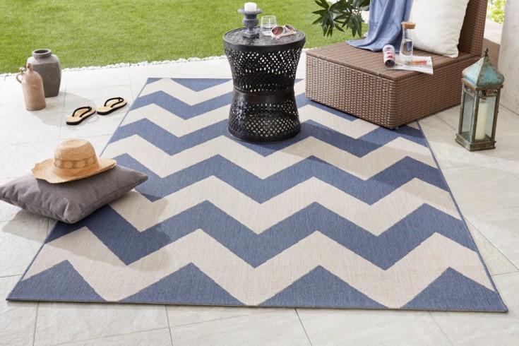 Outdoor Teppich RIO 230x160cm blau beige geometrisches Muster wetterfest