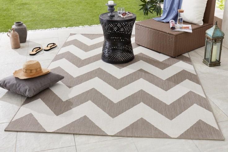 Outdoor Teppich RIO 230x160cm braun beige geometrisches Muster wetterfest