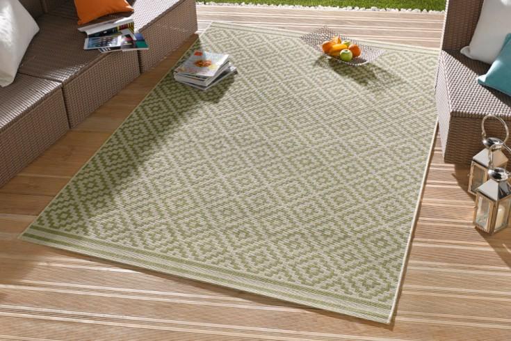 Outdoor Teppich ALCAZAR 230x160cm grün beige Ethno-Muster wetterfest