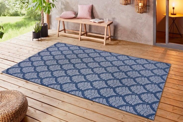 Outdoor Teppich OASIS 230x160cm dunkelblau beige Ethno-Muster wetterfest