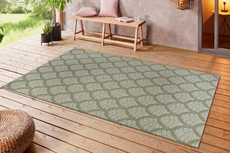 Outdoor Teppich OASIS 230x160cm grün beige Ethno-Muster wetterfest