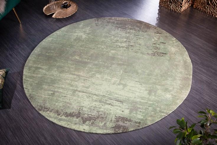 Vintage Teppich MODERN ART 150cm grün verwaschen rund Used Look