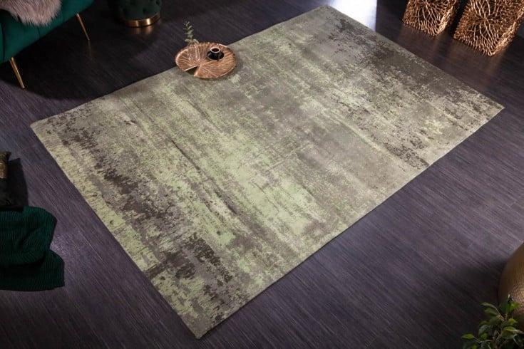 Vintage Teppich MODERN ART 240x160cm grün verwaschen Used Look