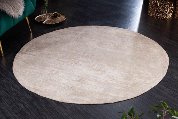 Vintage Teppich MODERN ART 150cm beige verwaschen rund Used Look