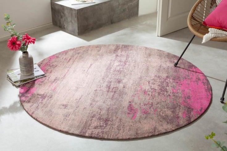 Vintage Teppich MODERN ART 150cm beige pink verwaschen rund Used Look