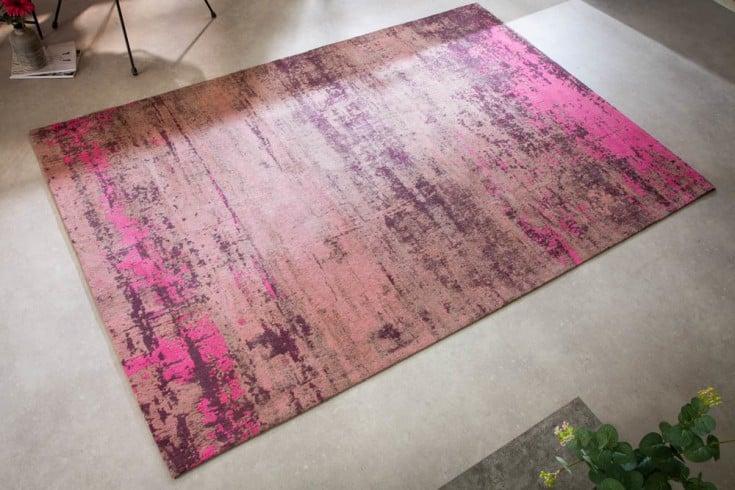 Vintage Teppich MODERN ART 240x160cm pink beige verwaschen Used Look
