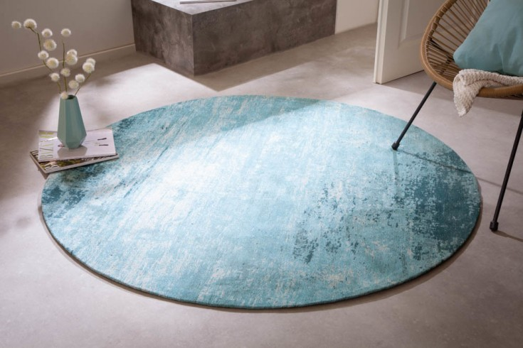 Vintage Teppich MODERN ART 150cm türkis verwaschen rund Used Look