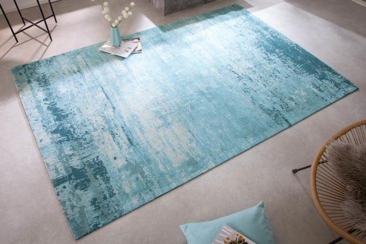 Vintage Teppich MODERN ART 240x160cm türkis beige verwaschen Used Look