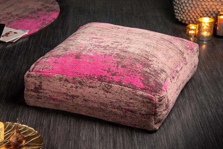 Design Bodenkissen XL MODERN ART 70cm rot pink abstraktes Muster Sitzkissen