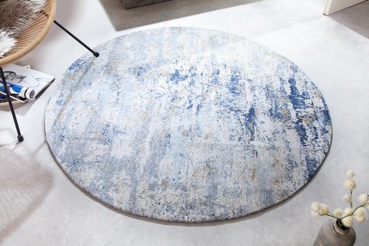 Vintage Teppich MODERN ART 150cm blau verwaschen rund Used Look