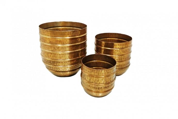 Edles 3er Set Blumen Übertopf ORIENT gold Vasen im Hammerschlagdesign