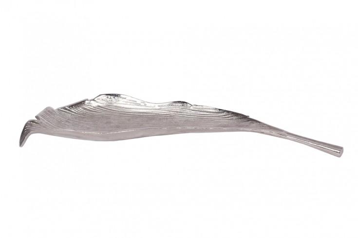 Handgefertigte Deko Schale LEAF 64cm silber Aluminium im Blattdesign