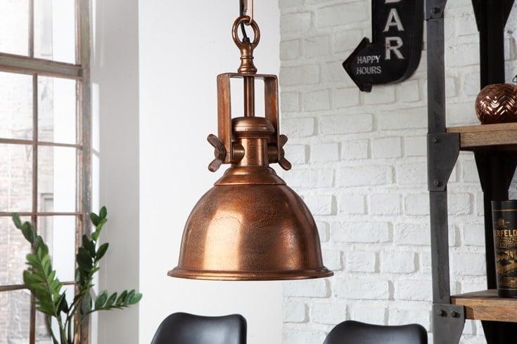 Design Hängelampe INDUSTRIAL 45cm kupfer geflammt Industrial Stil