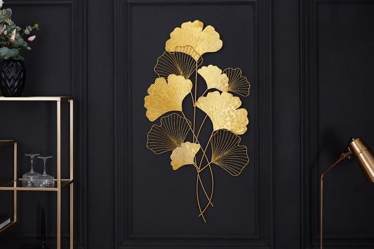 Elegante Wanddeko GINKGO 110cm gold in filigraner Blattform