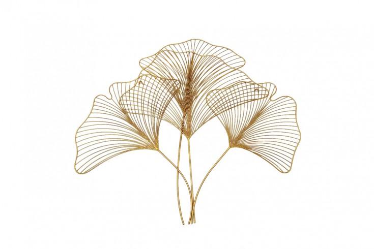 Elegante Wanddeko GINKGO 90cm gold in filigraner Blattform