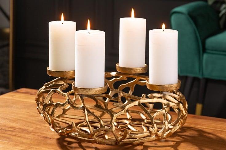 Eleganter Kerzenhalter ABSTRACT 38cm gold Kranz aus Ästen für 4 Kerzen