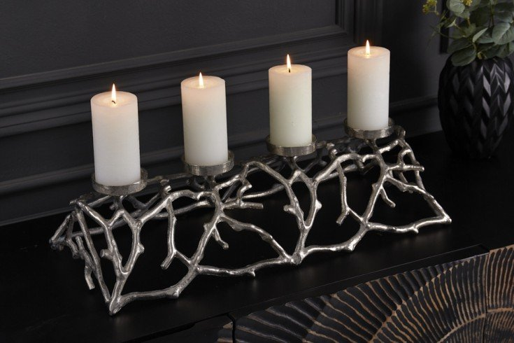 Eleganter Kerzenhalter ABSTRACT 60cm silber für 4 Kerzen