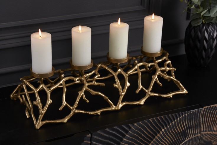 Eleganter Kerzenhalter ABSTRACT 60cm gold für 4 Kerzen