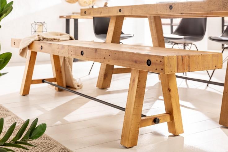 Massive Sitzbank FINCA 200cm natur recyceltes Pinienholz Industrial Design