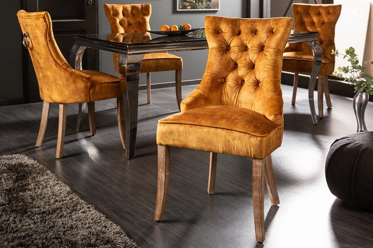 Eleganter Stuhl CASTLE senfgelb Samt Landhausstil mit Komfortgriff