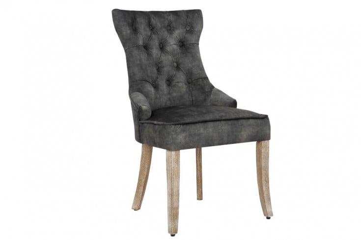 Eleganter Stuhl CASTLE grün Samt Landhausstil mit Komfortgriff