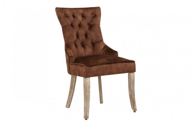 Eleganter Stuhl CASTLE braun Samt Landhausstil mit Komfortgriff