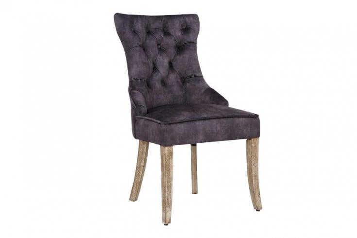 Eleganter Stuhl CASTLE königs-grau Samt Landhausstil mit Komfortgriff