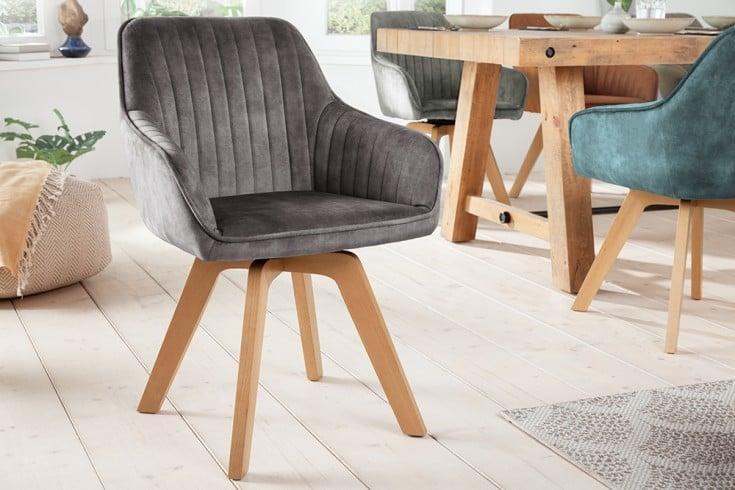 Drehbarer Design Stuhl LIVORNO grau Samt Buchenholz Beine