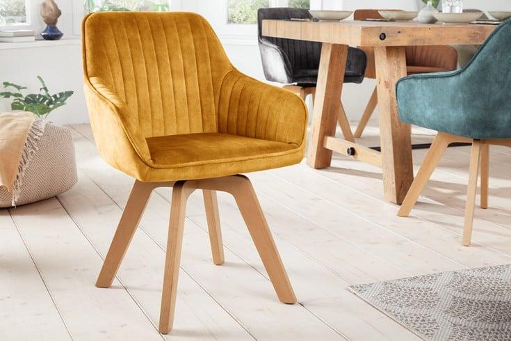 Drehbarer Design Stuhl LIVORNO senfgelb Samt Buchenholz Beine