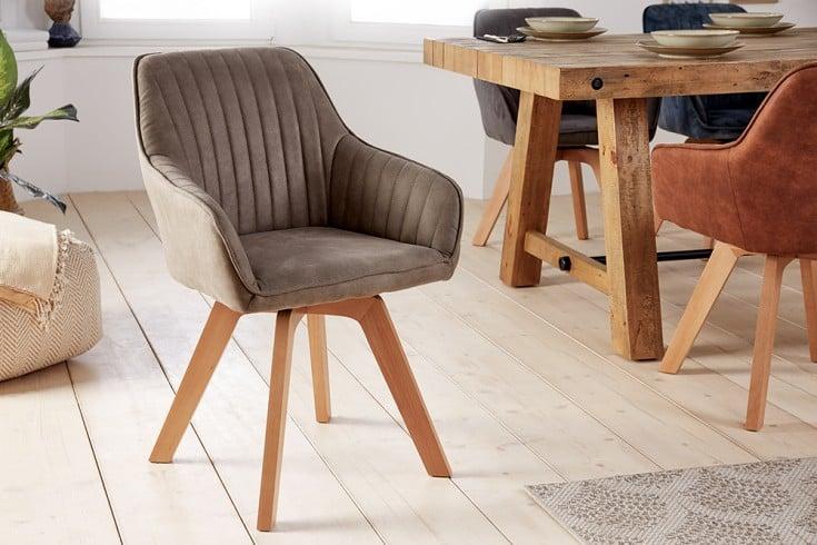Drehbarer Design Stuhl LIVORNO vintage taupe Buchenholz Beine