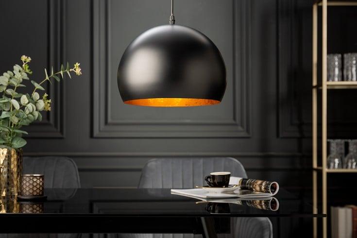 Elegante Hängelampe BLACK GOLDEN BALL 30cm schwarz mit Blattgoldoptik